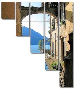Романтический вид от города Варенна знаменитой итальянской озеро Комо