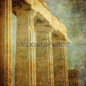 старинные изображения греческих колонн, Акрополь, Афины, Греция