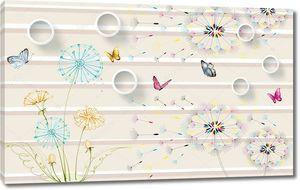 Горизонтальные полосы с одуванчиками и бабочками