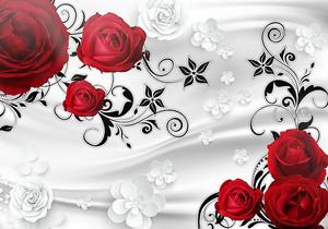Красные розы с черным узором