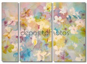 Абстрактные Цветы в мягких пастельных тонах.