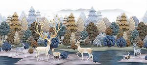 Фигурки оленей на фоне леса