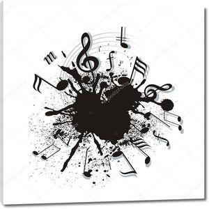 музыкальные примечания искривлены в спираль