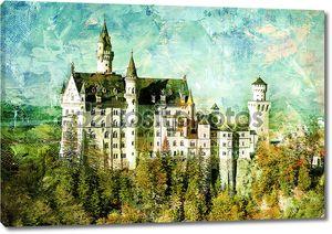 Замок Нойшванштайн в Германии - фреска
