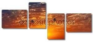 Вертолеты Ми-8, теплый закат, небесных Панорама
