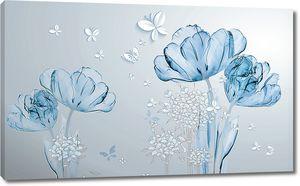 Прозрачные тюльпаны в голубом цвете