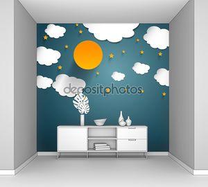 Луна и звезды бумага искусства. Вектор