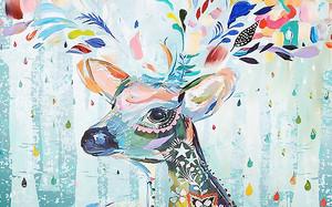 Портрет оленя разноцветными красками