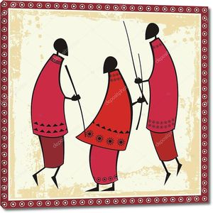 Vector African Masai Warriors Illustrations