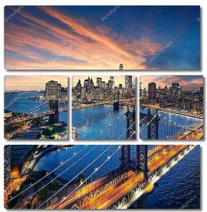 Нью-Йорк - красивый закат по Манхэттену с Манхэттенским и Бруклинским мостом