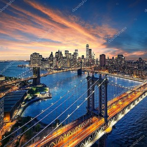 Нью-Йорк - красивый закат над Манхэттеном