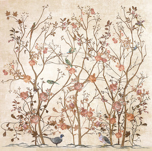 Птицы в бежевых цветущих кустах