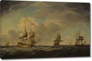 Чарльз Брукинг. Английский флагман под легким парусом при умеренном ветре