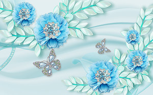 Цветы на голубом шелке