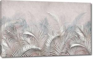 Перьевые листья снизу в пастельных тонах