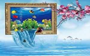 Стилизованный аквариум в рамке