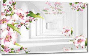 Туннель света и тени, розовый и белый лилии