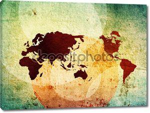 старинными красками карта мира