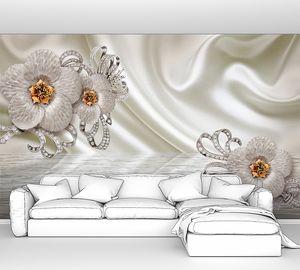 Цветы на фоне шелковой ткани