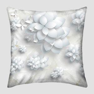 Белый мрамор фон, большие и маленькие бумажные цветы