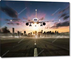 Посадка самолета на взлетно-посадочную полосу