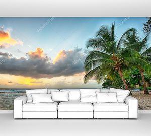 Красивый закат над морем с видом на пальмы