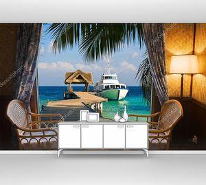 Вид на тропический пейзаж из отеля