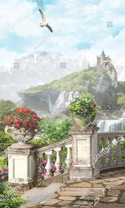 Лестница на фоне замка