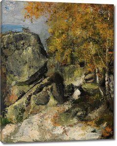 Поль Сезанн. Скалы в лесу, Фонтенбло
