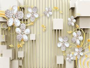 Кубики,  жемчужные цветы на желтых ветвях