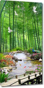 Павлин и голуби у ручья