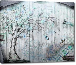 Дерево с нежными голубыми цвеами