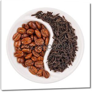 черный листовой чай и кофе в зернах в Инь Ян в форме пластины, iso