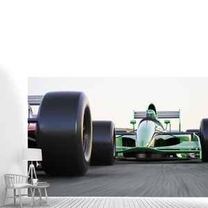 Мотор Спорт гонки автомобилей конкурентных тесных кругах гонки на треке с размытие движения