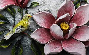 Розовая кувшинка с птицей