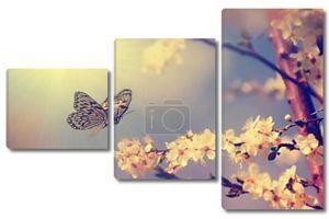 Винтаж бабочка и цветок сакуры весной