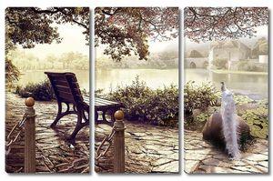 Скамейка под деревом в саду