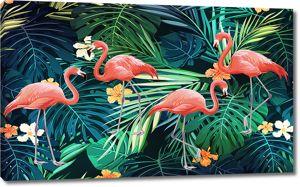 Фламинго в листьях
