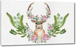 Голова оленя в розах