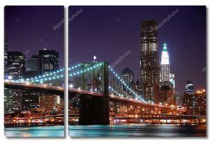 Освещенный огнями Нью-Йорк