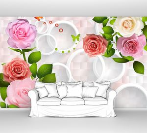 Разноцветные розы с кольцами