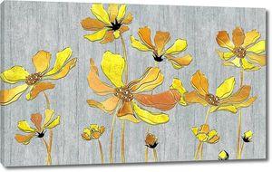 Большие желтые цветы на сером фоне