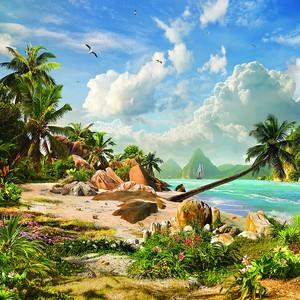 Необитаемый остров с пальмами