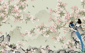 Веточки с цветами и райские птички