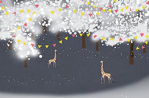 Жирафы в праздничном лесу