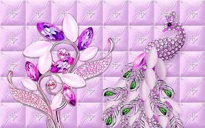 Абстрактный цветок с кристаллами и павлин с ярко-зелеными кристаллами