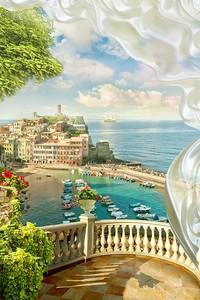 Вид с веранды на город и побережье
