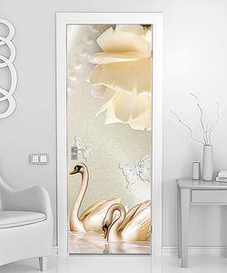Белый розовый бутон с лебедями