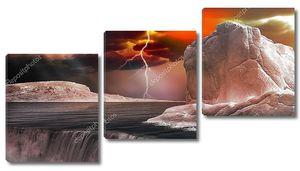 Красное грозовое небо над Айсбергом
