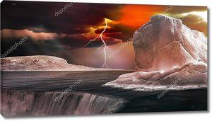 Красный грозовое небо над Айсберг